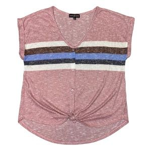 Almost Famous Stripe Tie Front Short Sleeve Top
